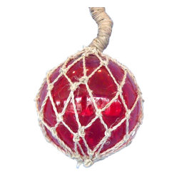 """Handcrafted Nautical Decor - Red Nautical Glass Float in Rope 6"""" Nautical Party Decorations Glass Float Balls - A glowing modern recreation of a nautical and fishing classic, this Amber Nautical Glass Float 8"""" is the perfect piece of nautical wall art, gorgeous whether in your home or office. Enjoy the charming inner warmth as lights play through the glass bauble, perfectly contrasted with the authentic fishing rope holding it in place. Mesmerizing and enchanting, enjoy the historic wonder and brilliant style of this Amber Nautical Glass Float 8"""" glass float each and every day."""