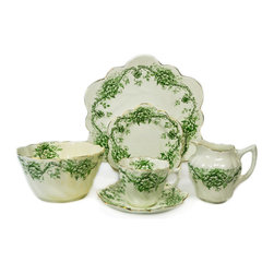 Lavish Shoestring - Consigned 4 Placements Egyptian Green Tea Set, Antique English, circa 1875 - This is a vintage one-of-a-kind item.