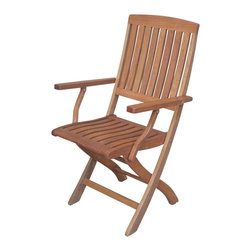 International Caravan - International Caravan Set of 2 Royal Tahiti Folding Wood Patio Chairs - International Caravan - Patio Dining Chairs - TTFA040 - Folding chair comes in a set of two and features a slatted back design and warm wood finish. Accents any deck patio or porch to create your ideal outdoor seating area.