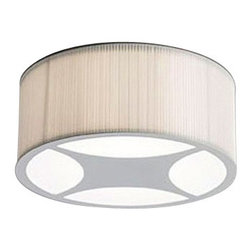 "ZERO - ZERO Mimmi Ceiling Light - The Mimmi ceiling light by Zero was designed by Pelikan and Copenhagen in 1999. This contemporary ceiling light has a gray painted frame with a white polyester pleated shade. The Mimmi has an opal acrylic diffuser to prevent a glare from from the bulbs. This ceiling light will add a simple elegance to any room.1 in stock and ready to ship!      Product Details:  The Mimmi ceiling light by Zero was designed by Pelikan and Copenhagen in 1999. This contemporary ceiling light has a gray painted frame with a white polyester pleated shade. The Mimmi has an opal acrylic diffuser to prevent a glare from from the bulbs. This ceiling light will add a simple elegance to any room.1 in stock and ready to ship!  Details:     Manufacturer: Zero   Designer: Pelikan and Copenhagen   Made in: Sweden   Dimensions: H: 7.8"" (20 cm) X W: 19.5"" (49.5 cm)   Light bulb: 4 X 60W E27 Medium base bulb   Material: Steel, Polyester fabric, Acrylic"