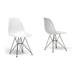 Baxton Studio - Ronnie Wire Base White Chairs (Set of 2) - This set of two comfortable wire-base white chairs is perfect for any office or room that requires additional seating. The wire bases are made of chromed steel,so you can rely on these elegant and sturdy chairs to last for years to come.
