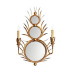 Cyan Lighting - Cyan Lighting-05283-Kingston - Two Light Wall Mount - Gold Finish  Lamp Quantity: 2  Lamp Type: Candelabra  Wattage: 60  Material: Iron and Mirrored Glass