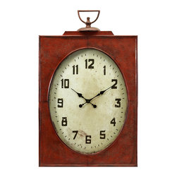 IMAX Imports - Carnen Oversized Red Wall Clock - The vintage charm of this provincial red wall clock is amplified in its allure due to its size. An excellent design choice, the Carnen oversized wall clock is sure to make a statement in your decor.
