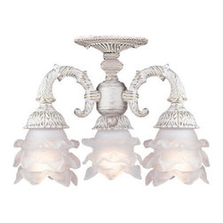 Crystorama - Crystorama 5223-AW Paris Flea Market 3 Light Semi-Flush Mounts in Antique White - Paris Flea Market offers casual yet elegant, whimsical and chic chandeliers, wall sconces, and ceiling mounts.