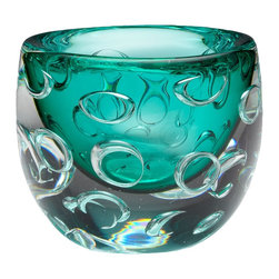 Cyan Design - Cyan Design Round Bristol Vase X-79740 - From the Bristol Collection, this Cyan Design vase features a unique layered look. The interior portion of the vase features a stunning Turquoise color, with a larger clear exterior that creates a larger size. Accent rings add depth and interest to this contemporary vase.