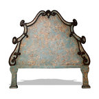 Bedroom Furniture - A headboard that is beautifully hand crafted with an abstract hand painted distressed finsh and also featuring ornate floral scroll hardware. See more at www.KoenigCollection.com