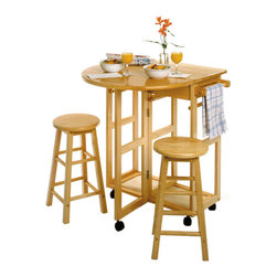 "Winsome Wood - Winsome Wood Drop Leaf Space Saver w/ 2 Round Stools in Beech - On wheels for easy transport, this bar conveniently comes with two stools that can be stored on the cart. There is a round drop leaf table that accommodates two people. Use it in the kitchen or out on the patio for an effortless outdoor meal. Round Stool size 11.61""W/D x 20.78""H. Table Open Leaf size 29.70""W x 29.29""D x 32.79""H. Assembly Required. Space Saver (1), Stool (2)"