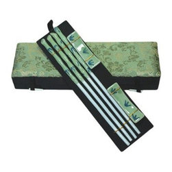 Oriental Furniture - Green Bamboo Porcelain Chopsticks Set - This wonderful set contains two pairs of chopstick with matching rests. The pieces are made of high temperature green porcelain with blue bamboo design and are packaged in a green, silk presentation box with a dragon design.