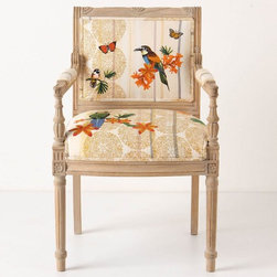 Tropical Flock Chair  - This is a great chair for a kitchen desk or mixed in at the ends of a kitchen table. Add some color and pattern and a little bit of whimsy to your kitchen.