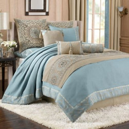 Bombay - Bombay Nayana 5-Piece Reversible Comforter Set - Create the perfect oasis in your bedroom with the beautiful and luxurious Nayana comforter set. This soothing set includes a comforter, bed skirt, two pillow shams, and a bed runner for an easy way to refresh your bedding ensemble.