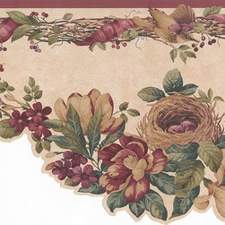 York Wallcoverings - Red Bird Nest And Flowers Wallpaper Border - Wallpaper borders bring color, character and detail to a room with exciting new look for your walls - easier and quicker than ever.