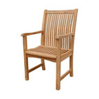Anderson Teak - Chicago Slat Back Dining Armchair - Unfinished - Sleek and stylish the great appointments on this fine tuned wooden gem relay sturdy quality craftsmanship and outdoor friendliness.  Perfect beneath a shade, poolside or conveniently located on the patio, this selection transforms the outdoors into a great resting space.  Lose yourself in the whimsical journey of an adventurous novel (and Champagne truffles) in your Oversized Solid Teak Dining Arm Chair, an elegant home addition reflective of expert craftsmanship, simplistic design and a firm grasp that even the most unassuming pleasures should be defined by timeless luxury and style. * Curve slat back and seat design. With arms. Teak wood construction. Traditional style. Minimal assembly required. 22 in. W x 19 in. D x 40 in. H (20 lbs.)This chair claimed to be the most comfortable chair ever built. This back & seat curve traditional style-dining armchair will never go out of style, but quietly blends with any other design. The seat is very sturdy as well as the back. Place this chair in your backyard with the dining table, will amazed your family or friends.