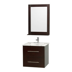 Wyndham Collection - Centra Bathroom Vanity in Espresso, White  Carrera Top, Sq Porcelain UM Sink - Simplicity and elegance combine in the perfect lines of the Centra vanity by the Wyndham Collection. If cutting-edge contemporary design is your style then the Centra vanity is for you - modern, chic and built to last a lifetime. Available with green glass, pure white man-made stone, ivory marble or white carrera marble counters, and featuring soft close door hinges and drawer glides, you'll never hear a noisy door again! The Centra comes with porcelain sinks and matching mirrors. Meticulously finished with brushed chrome hardware, the attention to detail on this beautiful vanity is second to none.