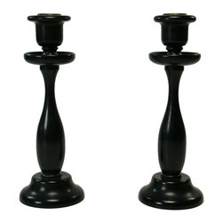 Lavish Shoestring - Consigned 2 Black Ebony Wood Candlesticks, Antique English, circa 1900 - This is a vintage one-of-a-kind item.