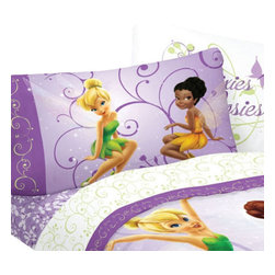 Franco Manufacturing Company Inc - Disney Tinkerbell Fairies Flight 3-Piece Twin Bed Sheet Set - Features:
