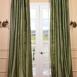EFF - Signature Green Textured Silk Curtain Panel - Spruce up your window with this luxurious silk curtain panel. This panel is constructed from Dupioni silk and features a high-quality cotton lining. Its royal green color is sure to complement your home decor beautifully as seasons pass by.