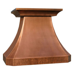 """myCustomMade - Copper Oven Hood """"Arkansas"""", Natural Fired, 30"""", Kitchen Island - Custom design makes this copper oven hood a great addition to the kitchen. Customize the modern copper hood by choosing natural fired, coffee, honey or antique finishing. """"Arkansas"""" style is produced as 30, 36 or 48 inches wide. Its depth is 22"""", height 36"""" and it takes about thirty days to deliver. Once purchased specify the hood 21000004 version as wall mount or kitchen island. Enjoy free delivery."""