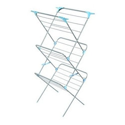 Minky Homecare 3 Tier Plus Indoor Drying Rack - It's easy to get sucked into the rush of technophilia, assuming that invention is the same as advancement, but the Minky Homecare 3 Tier Plus Indoor Drying Rack takes a look back at simpler, better solutions to ongoing conditions. Before electric clothing dryers were an every-household item, line drying garments was the standard. Hang or flat drying garments and linens isn't just economically and ecologically more efficient, using no electrical energy output; it is also easier on the material itself, helping you extend the life of your textiles. Looking backward doesn't have to preclude advancement, however. This drying rack provides ample space for handling full loads, while sneaking in a few extra non-energy-consuming features. The three tiers provide plenty of space for flat drying, while the 49 feet of bar space and the four flip-out corner caps allow for extra room to hang dry items. The tall tower construction requires only a small footprint and is also perfect for long drop items, like jackets, robes, and dresses. When not in use, this dryer can be quickly folded flat for easier storage so that your chores stay out of sight and out of mind until it's needed again.About Minky HomecareWith a history that stretches clear back to the mid-nineteenth century, Minky Homecare has the experience and integrity to ensure that your housework is quick and easy. Part of Vale Mill, Minky Homecare is a family owned and run business, which means personal care and commitment to developing the very best cleaning products on the market. From prepacked cleaning cloths to ironing boards, from air driers to household cleaners and organizers, Minky has been on the cutting edge of homecare for over half a century. As a result, they have grown into international markets and have even been granted a warrant by the British Royal Household. With Minky Homecare, housework is a pleasure and does itself when you don't want to.