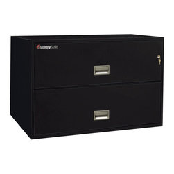 SentrySafe - SentrySafe L4310 Insulated 2 Drawer Lateral Filing Cabinet - 43 Inch - 2L4310B-C - Shop for File and Storage Cabinets from Hayneedle.com! The wide shape and low profile of the SentrySafe L4310 Insulated 2 Drawer Lateral Filing Cabinet - 43 Inch makes it ideal for placement on strong shelving or in a larger storage rack. This sleek cabinet is constructed from heavy-duty metal that's been thoroughly insulated against dust and debris and provides phenomenal fire protection. UL-Classified explosion resistance and fire endurance for up to one hour of 1700-degree temperatures make this a formidable chest that you can always depend on to keep your business records and valuables safe. Of course it isn't always the elements that pose a threat to your treasured keepsakes and important documents. To provide maximum security a plunger key lock has been included to secure both drawers. A drawer-specific lock/unlock function is also featured so you can isolate access to certain drawers while keeping others tightly sealed. Each of these drawers opens with easy-to-use recessed handles with label holders and accommodates letter- and legal-size hanging file folders. Lockpicks sledgehammers and crowbars are no match for this SentrySafe. In addition to its incredible fire resistance this cabinet has also been proven to remain fully functional following a 30-foot drop. The overall dimensions of this unit are 43W x 20.5D x 27.6H inches. Available in your choice of black gray light gray sand tan and putty finish.Shipping OptionsDock-to-Dock Freight ServiceNo additional charge. Dock-to-dock includes commercial freight delivered to a commercial loading dock. Recipient is responsible for unloading product final placement unpack and debris removal. Not available for residential deliveries.Curbside DeliveryDelivery personnel will present goods to ground level at rear of delivery vehicle. Recipient is responsible for final movement of goods unpack and debris removal. Curbside delivery will not bring the item up to a residence.Threshold ServiceDelivery personnel will remove goods from truck and place goods inside first exterior doorway garage or carport. Service includes up to four steps exterior to the first doorway. Customer is responsible for final product placement unpack and debris removal. Inside Delivery ServiceDelivery personnel will remove goods from truck place goods in your room of choice and complete unpack and debris removal. Includes lift gate service and stair carry of 0-4 internal and external steps. Does not include site preparation or protection.About SentrySafeFor over three generations family-owned SentrySafe has been with you protecting your valuables providing you peace of mind. SentrySafe uses rigorous testing standards to ensure your items are protected from fire water and theft. They offer safes in a wide range of sizes and types and continue to innovate protection technology. They are proud to make all of their products right here in the United States. SentrySafe is a name you can trust for all your irreplaceable items.