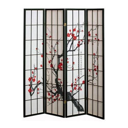 Cherry Blossom Screen - Create a stunning focal point with this cherry blossom screen. Use it as a headboard, a piece of art, or as a room divider. Also available in other color frames and in three panels.