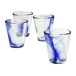 Murano Tumblers, Cobalt Blue, Set of 4 - In my dreams I own many sets of dishes. I would love to add these dreamy glasses to my collection.
