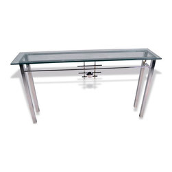 Mathews & Company - Metropolis Console Table with Glass Top - The Metropolis Console Table with Glass Top features a modern style wrought iron base available in 2 custom finish options, chrome and burnt orange. Pictured in Chrome finish.
