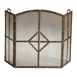 Lincoln Firescreen - Its industrial cool aesthetic is well-suited to fireplaces of distinctive style, whether gracing a rambling reimagined farmhouse, a country carriage house, or a city side residence. A central diamond motif lends angular beauty to this triptych-style screen that boasts a Raw Steel finish, rivets, and a fine mesh backing.