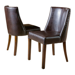 Great Deal Furniture - Rydel  Dining Chairs (Set of 2), Brown Leather - The Rydel Dining Chairs are a perfect set to bring together any space in your home. They enhance almost any decor for your dining room or can even double as accent chairs for your living room, bedroom, or office. The Rydel brown leather dining chairs are casual enough for the traditional to the more modern tastes and its neutral colored upholstery make these dining chairs compliment most existing furniture.