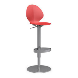 Calligaris - Basil Swiveling Bar Stool, Chrome Frame, Red - Color? Check. Chrome? Check. Swivel? Double check! A bar stool that couldn't have more to offer — this one even has a gas lift to adjust height. A bright little addition to your home.