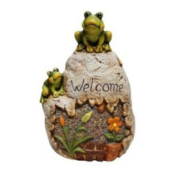 Alpine Corporation - Welcome Sign Rock with Frog Garden Statue - Add a fun look to your landscape with these delightful garden statuaries. You can group them in your walkway, garden and pond or use individually around your deck or patio. These unique figures are made with the precision of fine detailed craftsmanship to make a one of a kind product