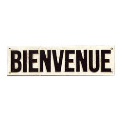 """Cast Iron """"Bienvenue"""" French Welcome Sign - Cast Iron signs are a great way to convey directions or greetings on your fences, garage or any outdoor areas. The Bienvenue signs welcomes your guests with a French flair. Bring a piece of Paris into your home with this delightful sign that is guaranteed to be a conversation piece."""
