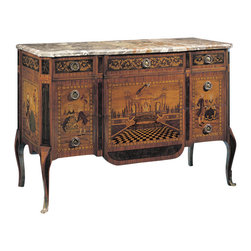 """Inviting Home - French Style Inlaid Chest - Five drawer chest inlaid with rosewood and many other woods in a French 18th-century design with antiqued brass hardware and Macchiavecchia marble top. The chest is an exact copy of an original designed for Marie Antoinette; 54""""W x 22-1/4""""D x 36-3/4""""H hand-made in Italy This inlaid chest is an exact copy of an original one designed for Marie Antoinette. Hand-crafted five drawer chest inlaid with rosewood and many other woods in a French 18th-century design. French style chest features antiqued brass hardware and Macchiavecchia marble top. This inlaid chest is hand-made in Italy."""