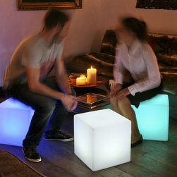 Illuminated Cube Outdoor Stools and Tables - Cube rechargeable outdoor side table or stool.