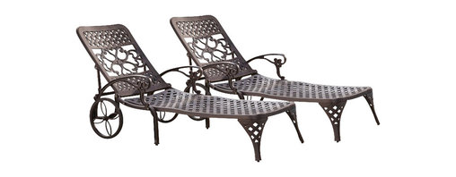 Home Styles - Home Styles Biscayne Outdoor Chaise Lounge Chair in Bronze (Set of 2) - Home Styles - Patio Lounges - 5555832 - Create an intimate conversation area with Home Styles' Biscayne Chaise Lounge Chair. Constructed of cast aluminum in a UV resistant, powder-coated bronze finish sealed with a clear coat for protection; the Lounge Chair features two wheels for easy portability and nylon glides on legs for stability. Elegant design and sturdy construction, this piece can be adjusted to four back positions.