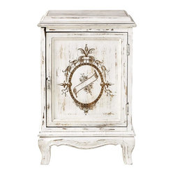 Home Decorators Collection - Garret Accent Cabinet - The antique look of our Garret Accent Cabinet offers cottage style for your living room or bedroom. This classic piece features a tapered top, a recessed door panel with painted crest, a scalloped skirt and curved legs. Mango wood in distressed white finish. Single-door cabinet with metal pull.