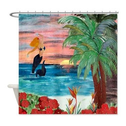usa - Sun Rise Mermaid Shower Curtain - Beautiful shower curtains created from my original art work. Each curtain is made of a thick water resistant polyester fabric. The permanently applied art work appears on the front side with the inside being white. 12 button holes for easy hanging, machine washable and most importantly made in the USA. Shower rod and rings not included. Size is a standard 70''x70''