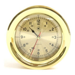 Bey-Berk International Brass Clock - Tarnish Proof - Your home or office will look ship-shape with the Bey-Berk International Brass Clock T.P.. This attractive timepiece has an analog quartz-movement features a solid brass, tarnish-proof frame. Sleek, contemporary styling makes this a smart gift. About Bey-Berk InternationalThis quality item is created by Bey-Berk. For more than 20 years, Bey-Berk International has crafted and hand-selected unique gifts and accessories from around the world to meet the demands of discerning customers. With its line of elegant and distinctive products, Bey-Berk has established itself as a leader in luxury accessories.