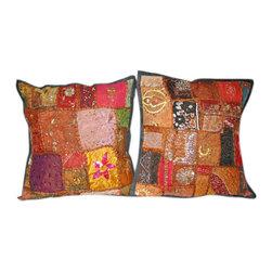 Patchwork Decorative Throw Pillows - 2 Patchwork Toss Pillow Shams Indian Sari Cushions