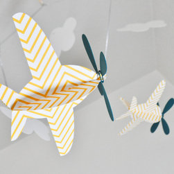 Baby Mobile Airplanes in Yellow Chevron and Teal by Cactus & Olive - What do you think about adding a little chevron pattern in the form of a mobile? These airplanes are just darling, don't you think?