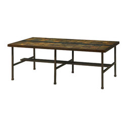 Hammary - Hammary Amelio Rectangular Cocktail Table w/ Natural Slate Top & Blackened Steel - - 373-910.  Product features: Belongs to Amelio Collection by Hammary; Natural Slate; Blackened Steel Base; Rectangular Table Top Shape. Product includes: Cocktail Table (1). Rectangular Cocktail Table w/ Natural Slate Top & Blackened Steel Base belongs to Amelio Collection by Hammary.