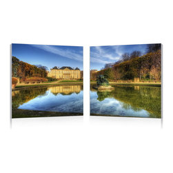"""Baxton Studio - Baxton Studio French Chateaux Mounted Photography Print Diptych - Even in the height of winter, carefully manicured bushes and flawlessly still pond waters emphasize the grandeur of this historical castle. A single photograph split into two halves, this dazzling image is printed on waterproof vinyl canvas mounted to two MDF wood frames (a diptych). The frames come fully assembled and ready to hang, though you,t supply your own mounting hardware (hardware not included with purchase). The French Chateaux Modern Wall Art Set is made in China and should be wiped clean with a dry cloth. Product dimension: 19.68""""W x 1""""D x 19.68""""H"""