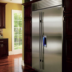 "Sub-Zero Refrigerator BI-48SDS/TH,  48"" side by side - The BI-48SDS/TH, a 48"" side by side Sub-Zero refrigerator with an external water and ice dispenser.  Shown with tubular handles, a model with pro-handles is an option."