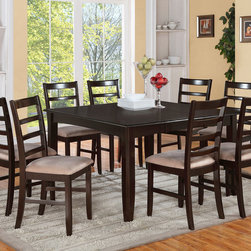 """East West Furniture - Parfait 7Pc Set with 54"""" Gathering Table and 6 Ladder Back Padded Stools - Parfait 7Pc Set with Square 54"""" Gathering Table and 6 Ladder Back Padded Seat Stools; This Square pub set features a solid wood table & chairs in an elegant cappuccino color.; The dining set's table & chairs have an easy-care satin finish.; The squared table top has a butterfly leaf shaped to fit into the table seamlessly.; Each ladder back bar stool rests squarely on sturdy solid wood legs at counter height.; This pub set features a choice of wood seating or upholstered bar stool seats.; A Fairwinds dining set blends equally well with contemporary or period styles.; Its clean lines look modern, while its solid wood construction evokes traditional craftsmanship.; Weight: 263 lbs; Dimensions: Table: 36-54""""L x 54""""W x 36""""H; Chair: 18""""L x 17""""W x 38.5""""H"""