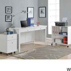 Altra Furniture - Altra Amelia Desk with Mobile Storage Cube and File - Add style and functionality to any space with this mobile desk set. The white set includes a file cabinet and cube with sturdy wheels, so you can easily move them around. The desk has a large work area and tapered legs that give it a modern look.