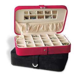 Grandin Road - Travel Jewel Case - A velvety faux suede exterior reveals a handy mirror and elasticized storage pocket beneath the lid. 24-space organizing grid is removable and adaptable to accommodate larger pieces. Fabric lid support. Secure snap closure. Our Travel Jewel Case provides stylish, portable jewelry protection. Now you can travel with your favorite pieces and keep them beautifully organized and safe from damage. . . . .