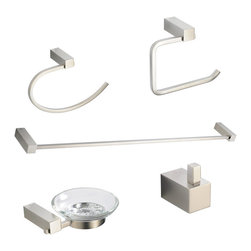 Fresca - Fresca Ottimo 5-Piece Bathroom Accessory Set - Brushed Nickel - All of our Fresca bathroom accessories are made with brass with a triple brushed nickel finish and have been chosen to compliment our other line of products including our vanities, faucets, shower panels and toilets.  They are imported and selected for their modern, cutting edge designs.