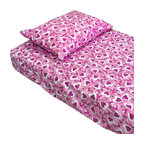 Country Club Products - Hearts Pink Purple Bedding Twin-Single Bed Sheet Set - Features: