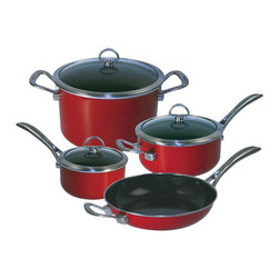 Chantal - Chantal Copper Fusion Cookware Set, Red, 7 Piece Set - Everyday cooking is easy with this 7 piece set of essential pots and pans.