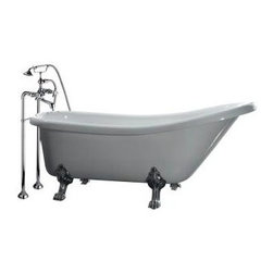 OVE Decors - OVE Decors Bathtub. 5.5 ft. Acrylic Claw Foot Slipper Tub in White - Shop for Bath at The Home Depot. This gorgeous retro-inspired lounger tub will add a striking look to your bathroom with its real brass lion feet and detailed freestanding faucet. This tub offers modern adaptability with a cradled hand shower as well as its classic standard faucet. Unlike its cast-iron predecessor, our tub is made of acrylic and will be a breeze to move and install with only two people. The Telephone style freestanding faucet IS included in the price of the unit.