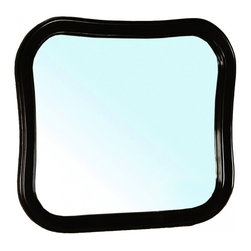"Bellaterra Home - Unique Solid Wood Black Frame Mirror - Solid wood frame with  mirror. High quality  glass to prevent rusting against bathroom humidity. Frame Dimensions: 34.5""W X 30.25""H X 1""D; Finish: Black; Material: Birch; Beveled: No; Shape: Unique; Weight: 21.6; Included: Brackets, Ready to Hang"